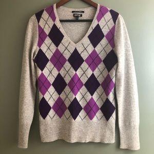 100% Cashmere Argyle Sweater by Apt. 9